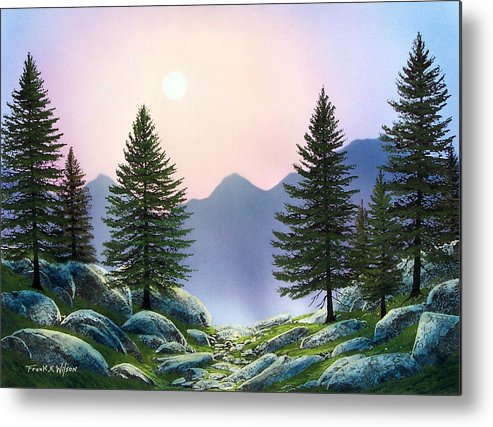 Landscape Metal Print featuring the painting Mountain Firs by Frank Wilson