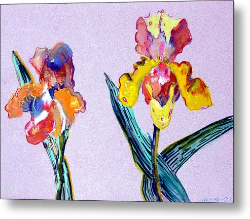 Flowers Metal Print featuring the painting Mr. And Mrs. Yellow Iris by Mindy Newman