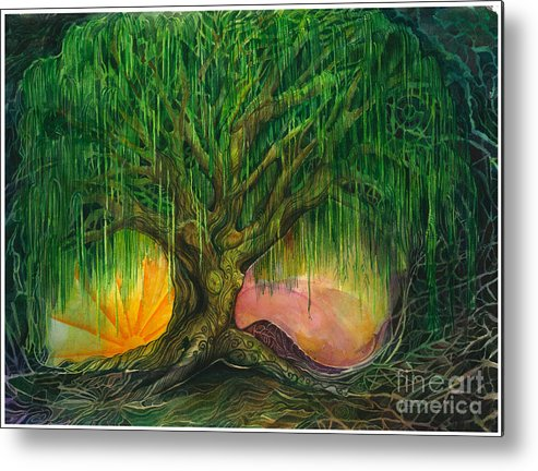 Willow Tree Metal Print featuring the painting Mystical Willow by Colleen Koziara