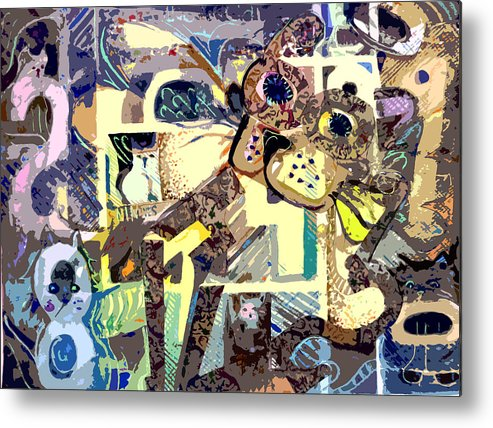 Collage Metal Print featuring the photograph Nine Lives Of The Cat by Mindy Newman