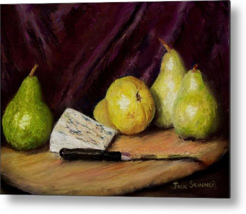 Still Life Metal Print featuring the pastel Pears And Cheese by Jack Skinner