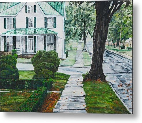 Small Town Metal Print featuring the painting Rain On Green Roof by Thomas Akers