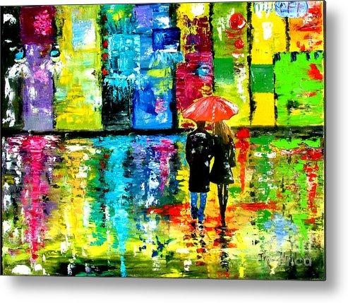 Rain Metal Print featuring the painting Rainy Night by Inna Montano