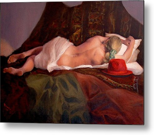 Realism Metal Print featuring the painting Red Hat 3 by Donelli DiMaria