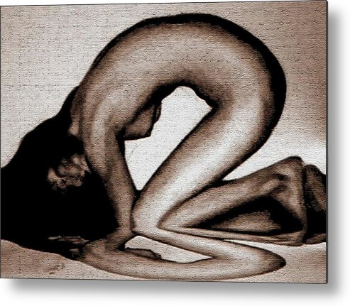 Nude Metal Print featuring the drawing Reflection by Angela Conway