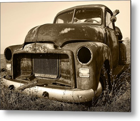 Vintage Metal Print featuring the photograph Rusty But Trusty Old Gmc Pickup by Gordon Dean II