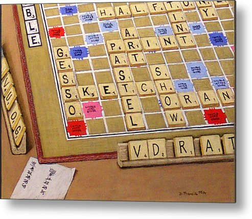 Still Life Metal Print featuring the painting Scrabble Gesso Misplayed by David Francis