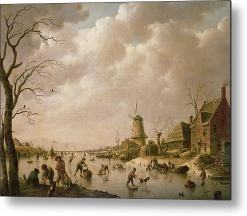 Skaters Metal Print featuring the painting Skaters On A Frozen Canal by Hendrik Willem Schweickardt
