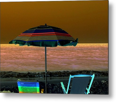 Beach Metal Print featuring the digital art Sunset Glow by Kenna Westerman