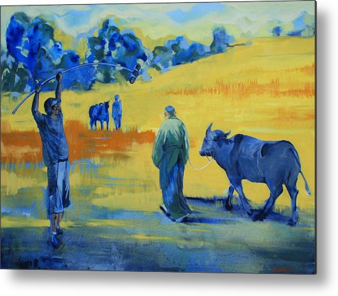 Landscape Yellow Animals People On Set Movies Film Buffalo Metal Print featuring the painting The Boom Man And The Buffalo by Amy Bernays