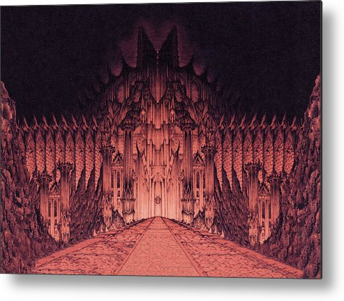 Barad Dur Metal Print featuring the drawing The Walls Of Barad Dur by Curtiss Shaffer