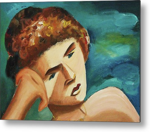 Model Metal Print featuring the painting Thinkin Of You by Suzanne Marie Leclair