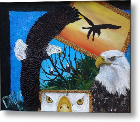 Eagle Metal Print featuring the painting Those Eyes  Eagle by Darlene Green