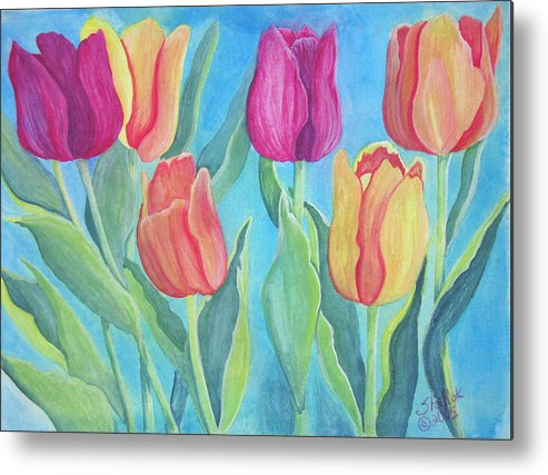 Floral Metal Print featuring the painting Tulips by SheRok Williams