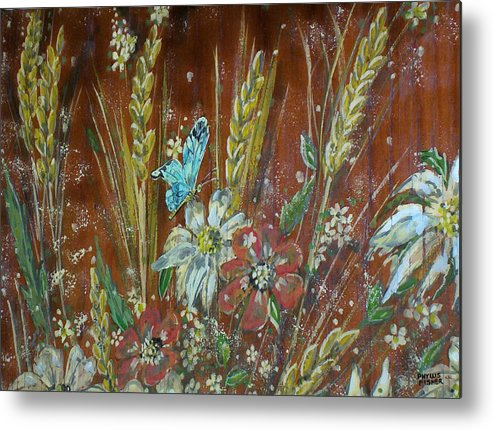 Flowers Metal Print featuring the painting Wheat 'n' Wildflowers I by Phyllis Mae Richardson Fisher