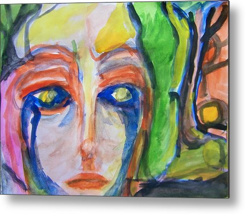 Abstract Metal Print featuring the painting Woman Of The Trees by Judith Redman