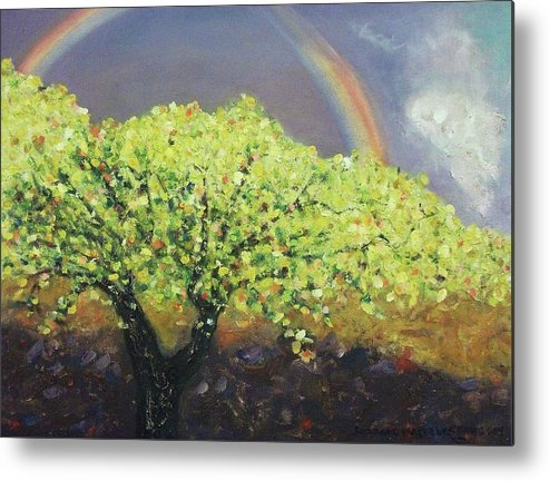Tree Metal Print featuring the painting Yellow Tree And Purple Sky by Suzanne Marie Leclair