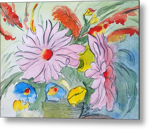 Floral Metal Print featuring the painting Fun Flowers by Robert Thomaston