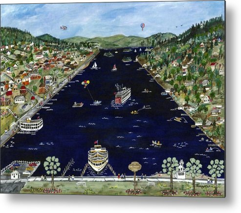 Folk Art Metal Print featuring the painting Welcome To Lake George Ny by Sandie Keyser