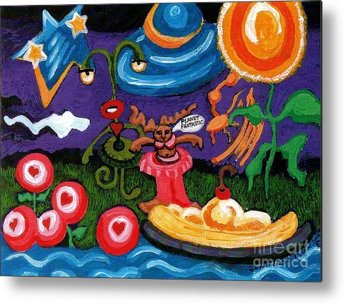 Planet Fantastic Metal Print featuring the painting Planet Fantastic by Genevieve Esson