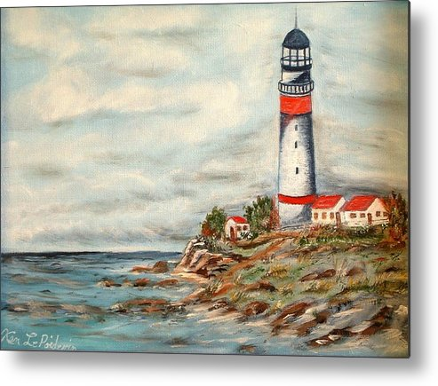 Lighthouse Ocean Houses Rocks Metal Print featuring the painting Lighthouse 2 by Kenneth LePoidevin