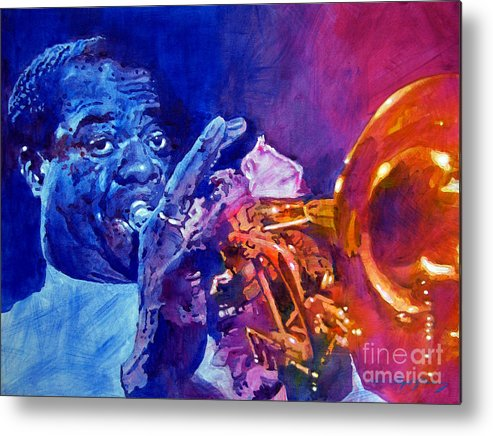 Jazz Metal Print featuring the painting Ambassador Of Jazz - Louis Armstrong by David Lloyd Glover
