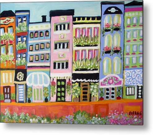 Cityscape Metal Print featuring the painting Avenue Of Gardens by Karen Fields