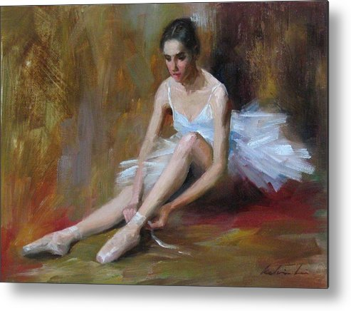 Figurative Metal Print featuring the painting Ballerina D by Kelvin Lei