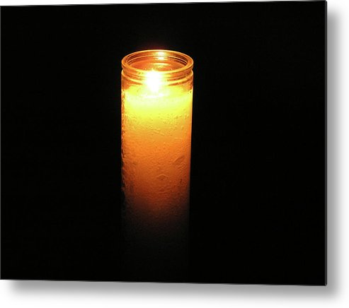 Candle Metal Print featuring the photograph Candle In The Dark by Richard Mitchell