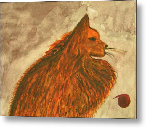 Cat Metal Print featuring the painting Cat With Yarn by Natalee Parochka