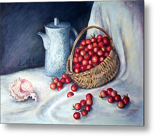 Still Life Metal Print featuring the painting Cherry Tomatoes by Anne Rhodes