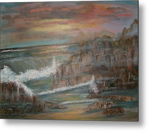 Seascape Metal Print featuring the painting Coastal Brillancy by Mikki Alhart