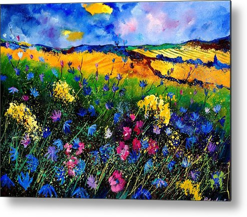 Flowers Metal Print featuring the painting Cornflowers 680808 by Pol Ledent