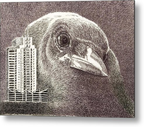 Pen Metal Print featuring the drawing Crow Over Casino Windsor by Wade Clark