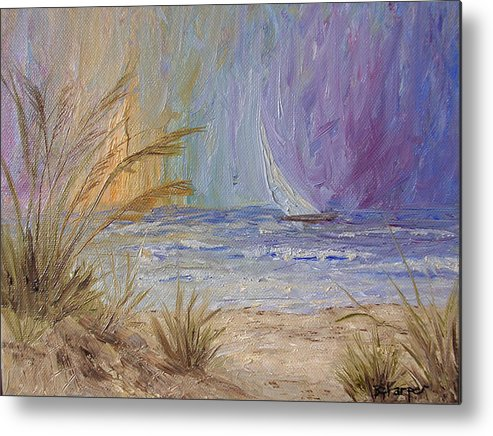 Sailboats Metal Print featuring the painting Cruising The Ocean by Barbara Harper