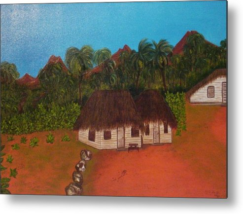 Cuban Fields Metal Print featuring the painting Cuban Tobacco Plantation by Ofelia Uz
