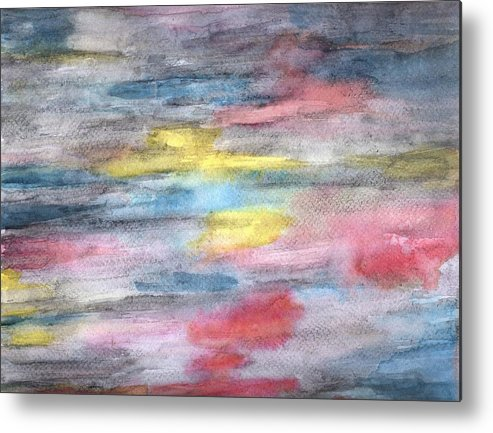 Abstract Metal Print featuring the painting Ebony Rainbow by Mary Zimmerman