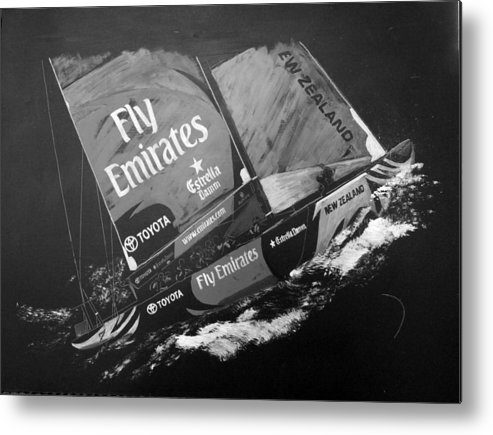 America's Cup Metal Print featuring the painting Emirates Team New Zealand by Richard Le Page