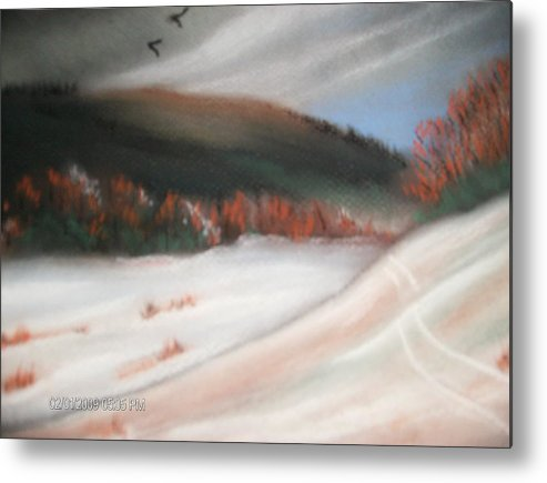 Pastel Metal Print featuring the painting First Dusting Of Snow by Terry Lash