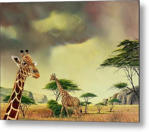 Landscape Metal Print featuring the painting Giraffes At Thabazimba by Don Griffiths