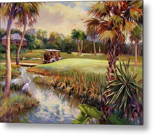 Landscape Metal Print featuring the painting Great Day For Golf by Dianna Willman