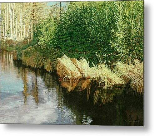 Pond Metal Print featuring the painting Greenview Beaver Pond by Allan OMarra