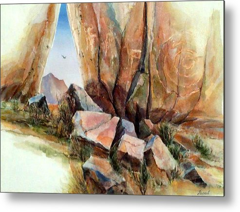 Southwest Landscape Mixed Media Metal Print featuring the painting Hall Of Giants by Don Trout