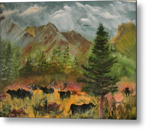 Landscape Metal Print featuring the painting Home On The Range by Jack Hampton