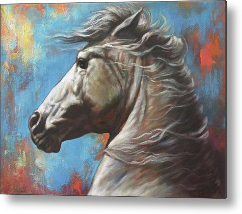 White Horse Metal Print featuring the painting Horse Power by Harvie Brown