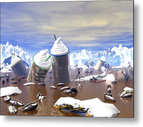 3d Metal Print featuring the painting Ice Caffe by Williem McWhorter