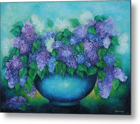 Flowers Metal Print featuring the painting Lilacs No 3. by Evgenia Davidov