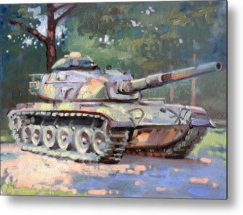 Landscape Metal Print featuring the painting M60 A3 Desert Storm Tank- Plein Air by Larry Seiler