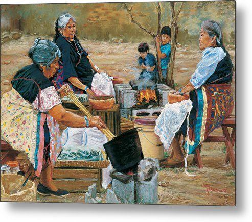 Native American Metal Print featuring the painting Making Piki Bread by Jean Hildebrant