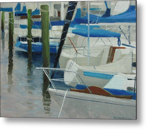 Boats Marina Metal Print featuring the painting Marina No. 2 by Robert Rohrich